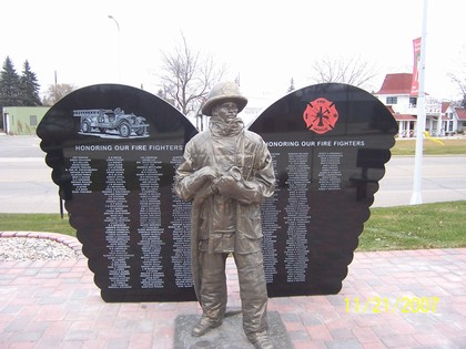 Front view of AFD Firefighters Memorial